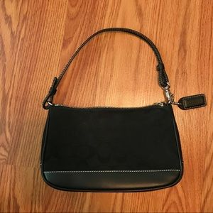 Vintage Mini Black Canvas Coach Handbag